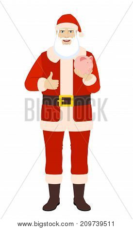 Santa Claus with piggy bank showing thumb up. Full length portrait of Santa Claus in a flat style. Vector illustration.