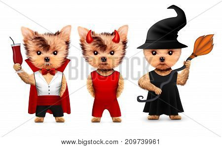 Funny cartoon animal Dracula, devil and witch. Halloween and Dead day concept. Realistic 3D illustration.