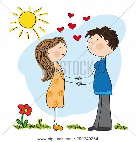 Young couple in love holding hands - original hand drawn illustration