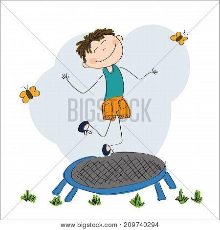 Happy boy jumping on the trampoline - original hand drawn illustration