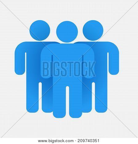 Blue people group. Teamwork concept Vector illustration