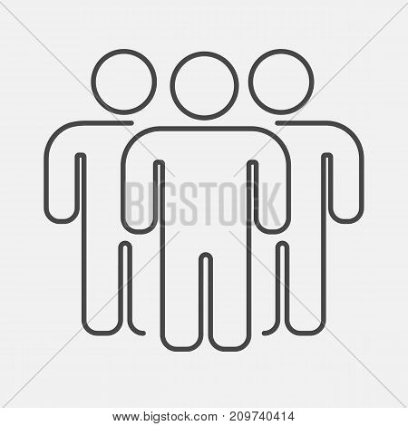 Outline people group. Teamwork concept Vector illustration