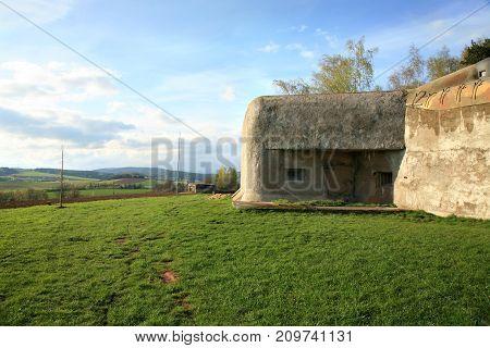 Bunker anti-Infantry from the Second World War in Slavikov, Czech Republic, Czechia