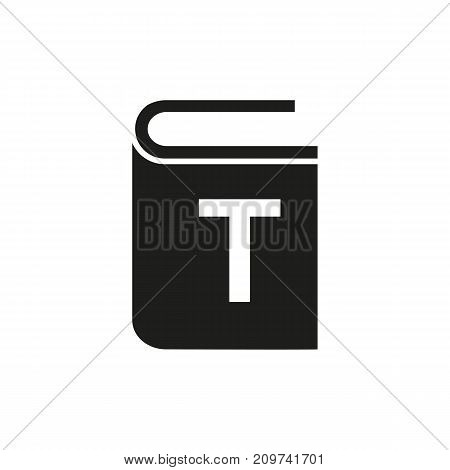 Simple icon of book with letter. Typography, textbook, novel. Advertising concept. Can be used for topics like business, literature, promotion