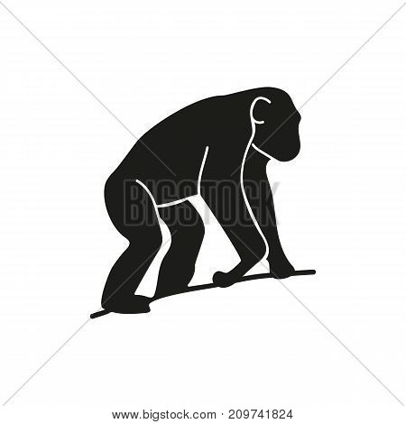 Simple icon of chimpanzee sitting on tree. Anthropoid ape, Africa, mammal. Animals concept. Can be used for topics like zoo, evolution, fauna