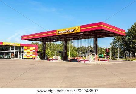 Moscow Russia - September 01 2017: General Fueller gas station in sunny summer day. General Fueller is one of the russian gas stations