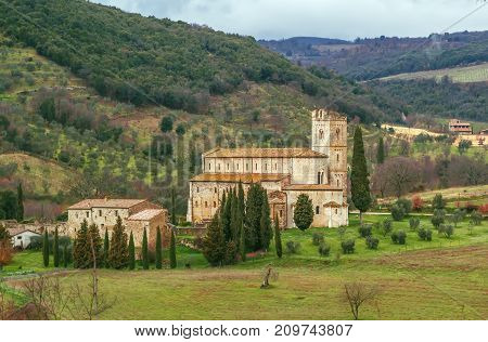 Abbey of Sant Antimo is a former Benedictine monastery in the comune of Montalcino Tuscany Italy