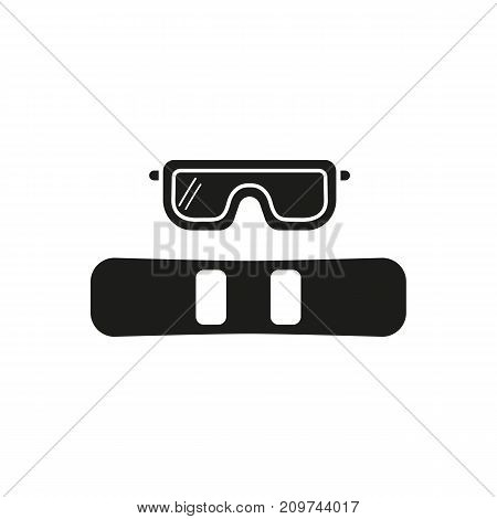 Simple icon of snowboard and goggles. Snowboarding, extreme sport, hobby. Sporting goods concept. Can be used for topics like sport, leisure, shopping