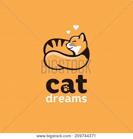 logo conveys the mood of home comfort and love of animals, the red cat sleeps and dreams of love