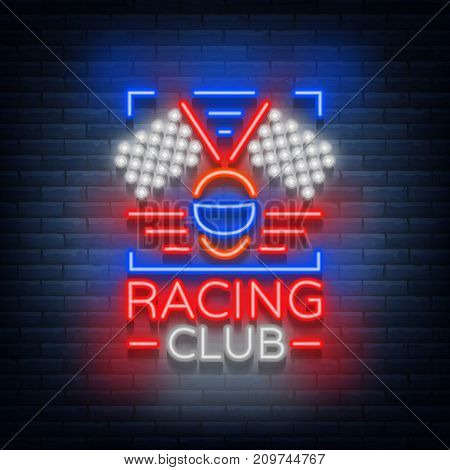 Racing Club neon logo logo. A glowing sign on the theme of the races. Neon sign, light banner. Vector illustration.