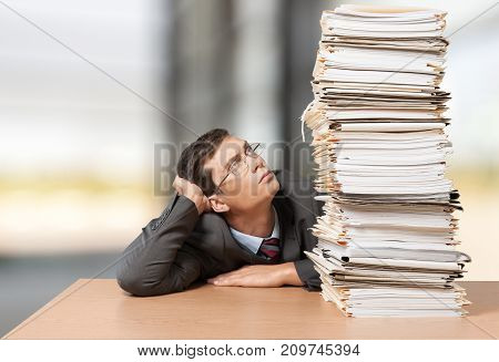 Heap business man papers business success solid view