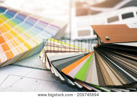interior design - paint color and furniture material samples