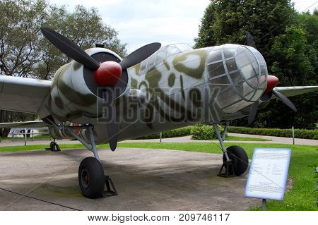 Moscow Russia - July 19 2017: Cockpit medium range bomber Kawasaki Ki-48 (Japan) on grounds of weaponry exhibition in Victory Park at Poklonnaya Hill.