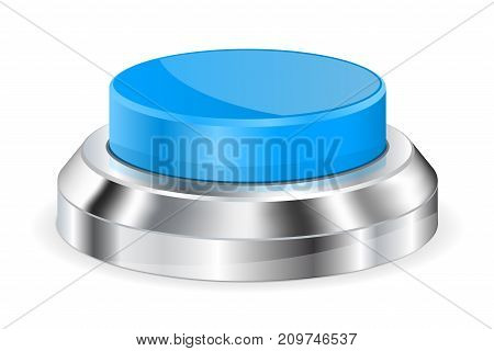 Blue push button with metal base. Vector 3d illustration isolated on white background