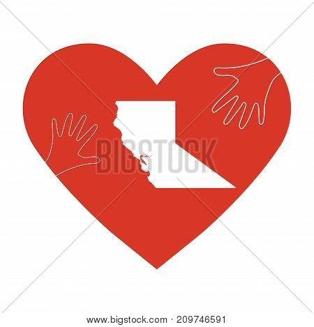 Vector illustration: support for volunteering, charity donation and relief after wildfires in California. Helping Hands, California map.