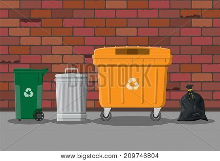 Can container, bag and bucket for garbage on street. Recycling and utilization equipment. Waste management. Vector illustration in flat style
