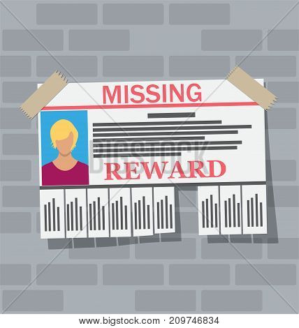 Wanted person paper poster. Missing announce. Information tear off papers. Search for lost person in big city. Vector illustration in flat style