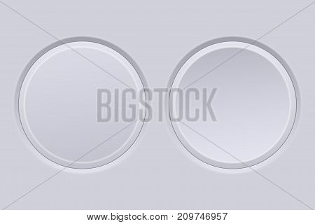 Round buttons. Light gray plastic push buttons. Normal and active. Vector illustration