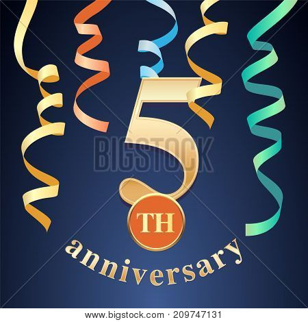 5 years anniversary celebration vector icon logo. Template design element with golden number and spiral garlands for 5th anniversary greeting card