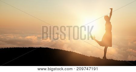 Happy and classy brunette posing against scenic view of cloudscape in sky
