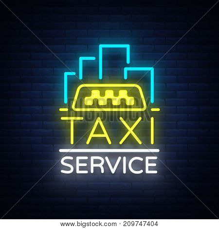 Vector Neon Taxi logo isolated on a brick background. Silhouette badge glowing taxi. Design advertising night sign of the taxi brand.