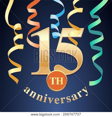 15 years anniversary celebration vector icon logo. Template design element with golden number and spiral garlands for 15th anniversary greeting card