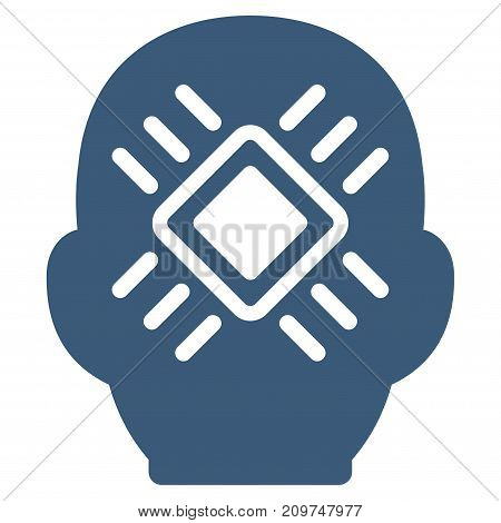 Cyborg Head vector icon. Flat blue symbol. Pictogram is isolated on a white background. Designed for web and software interfaces.