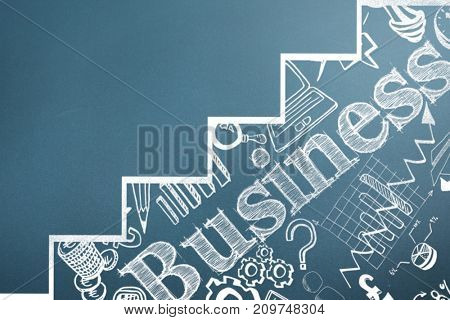 Graphic image of business text with graph against blue