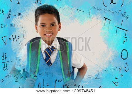 Illustration of mathematics symbols against schoolboy in school uniform with school bag on white background