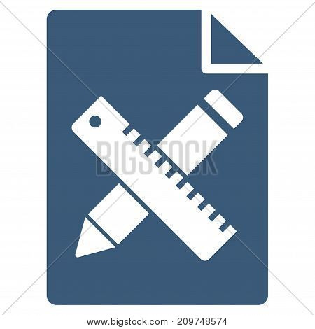 Pencil And Ruler Design Tools Page vector icon. Flat blue symbol. Pictogram is isolated on a white background. Designed for web and software interfaces.