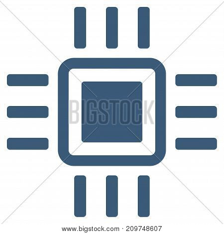 Processor vector icon. Flat blue symbol. Pictogram is isolated on a white background. Designed for web and software interfaces.