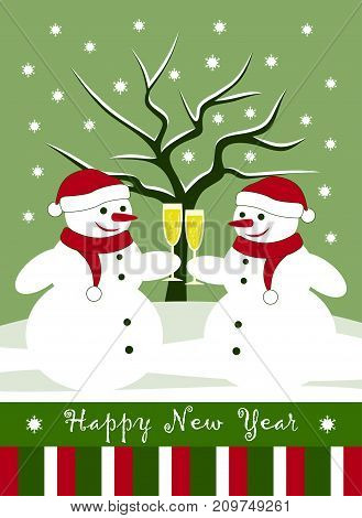 vector new year card with pair of snowmen with glasses of champagne
