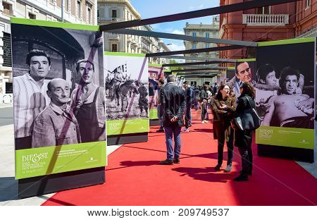 Bari Italy - April 22 2017: With the chairmanship of Margarethe von Trotta and the direction of Felice LaudadioBif&st 2017 is dedicated to director Dino Risi and actor Vittorio Gassman.