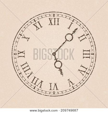 Clock with roman numerals on beige background. Vector illustration
