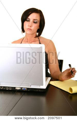 Pretty Woman Working With Laptop On Table