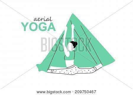 Aerial, fly yoga logo template. Anti-gravity yoga minimalistic business card design. Vector illustration.