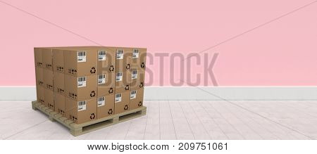 Stack of brown cardboard boxes arranged on wooden pallet against pink wall by hardwood floor