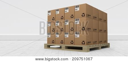 Brown cardboard boxes arranged on wooden pallet against gray flooring and wall