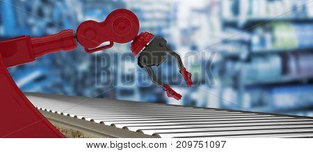 3D image of empty conveyor belt against full store room