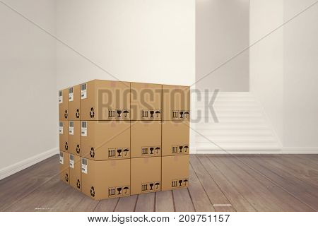 3D image of cardboard boxes against empty room