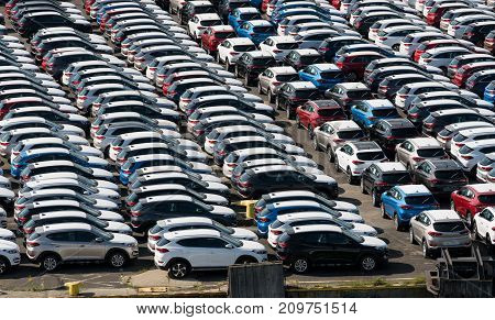 GDANSK, POLAND - 16 SEPTEMBER: Hyundai cars on dockside on 16 September 2017 in Gdansk, Poland. Hyundai sold over 7.8M vehicles in 2016.