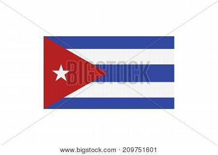 Vector illustration of the national flag of Cuba on white background.