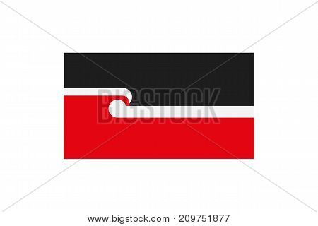 Vector illustration of the national flag of Maori that is also known as Tino rangatiratanga on white background.