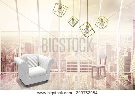 3d image of yellow pendant light against white background against window overlooking city