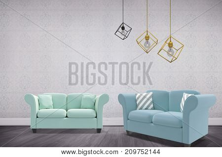 3d image of yellow pendant light over white background against room with wooden floor