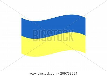 Vector illustration of the national flag of Ukraine on white background.