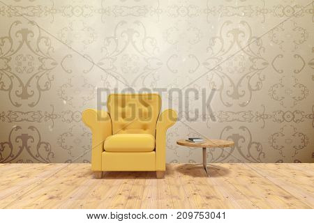 Yellow armchair by table on floor  against elegant patterned wallpaper in neutral tones