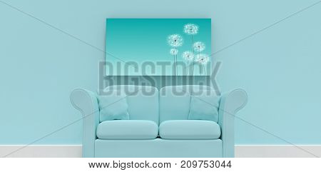 3d illustration of blue sofa with cushions against digitally generated dandelions against blue sky