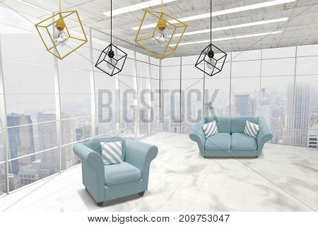 3d image of yellow pendant light against white background against modern room overlooking city