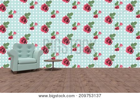 Empty armchair by table against kitsch floral pattern wallpaper with roses